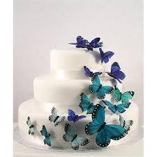 Beautiful Butterfly Wedding Cake Set In Blue 24 Pieces Weddingstar