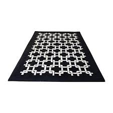 black and white geometric patterned rug used
