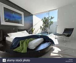 Luxus Schwarz Leder Bett Auf Einem Runden Podest In Einem Modernen