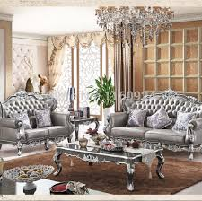 luxury silver grey oak european style living room furniture one genuine leather sofa set and two tables 6852