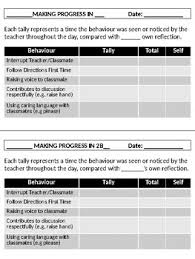 Behaviour Progress Tracking Chart Self Assessment Included