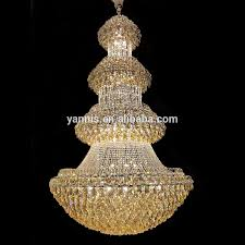 Modern K9 Crystal Hotel Hanging Light Gold Empire Chandelier