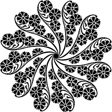 leaf garland wreath flower black and white