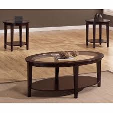 Coffee Table Set Of 3 Oval Coffee Table Round Side Tables Set Wood Glass Tabletop 3