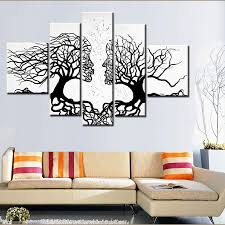 100 hand made promotion black white tree canvas painting abstract kiss art home decor oil painting on canvas unframed tree painting black white home decor