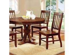foster i transitional dark oak round dining table set