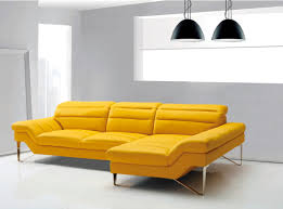 yellow leather sectional sofa vg994