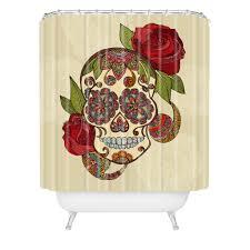 Skull Bedroom Curtains Valentina Ramos Sugar Skull Shower Curtain Deny Designs Home