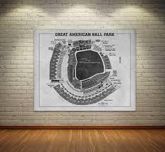 Cincinnati Reds Seating Chart Print Of Vintage Great American Ball Park Cincinnati Reds