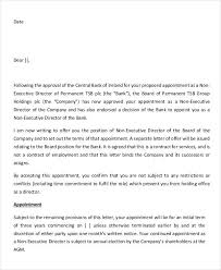 Letter Of Recommendation For Appointment To Board Director Appointment Letters 7 Free Samples Examples
