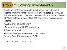26 problem solving investment 2 a college professor wants to supplement her retirement income with