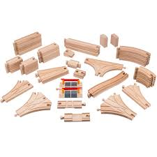 playbees wooden train track toy set 59 pieces compatible w brio thomas