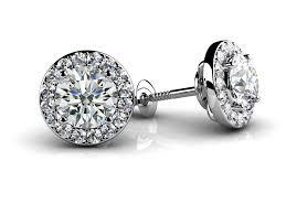 Designer Diamond Stud Earrings Circle Designer Diamond Stud Earrings Rocos Jewelry