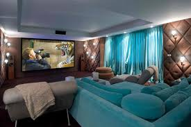 theatre room lighting. Small Home Theater Room Ideas Simple Wall Lighting Brown Laminate Flooring L Shape Black Leather Sofa White Pedestal Stools Big Screen Built In Component Theatre