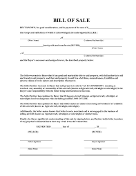 Free Motor Vehicle Bill Of Sale Template Kalei Document Template
