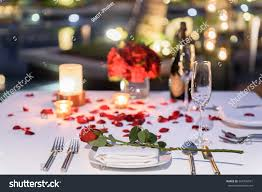 Candle Light Dinner Table Setting Pool Side Candlelight Dinner Romantic Sunset Stock Photo