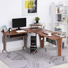 homcom l shaped corner computer desk pc