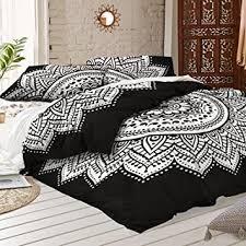 Amazon.com: Black and white Mandala Duvet Cover With Two Pillow ... & Black and white Mandala Duvet Cover With Two Pillow Covers - Bohemian Doona  set- Indian Adamdwight.com