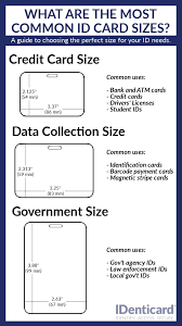 identity card size the 3 most common id card sizes infographic