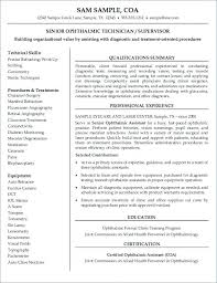 Ophthalmic Assistant Resume Extraordinary Certified Opthalmic Technician Resume Full Size Of Large Medium