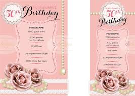 program for 50th birthday celebration party programmes as a5 or dl options for a womans 50th birthday