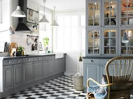 Checkerboard Flooring Kitchen Winsome Ikea Kitchen Design With Flash Grey Wooden Cabinets And