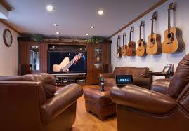 Interior:Excellent Small Home Theater With Guitar Decor And Plush Leather  Furnishings Excellent Small Home