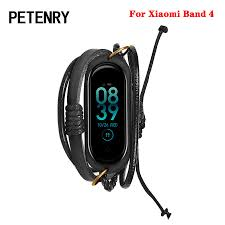 For Mi Band 4 <b>Bracelet</b> Retro Braided <b>Leather</b> Wrist <b>Strap for Xiaomi</b> ...