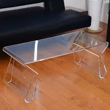 contemporary clear coffee table design with storage in legs and acrylic material coffee table for