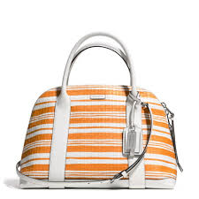 switzerland coach in embossed medium orange satchels dfu 77c41 ef948  top  quality lyst coach bleecker preston satchel in embossed woven leather in  19bf3 ...
