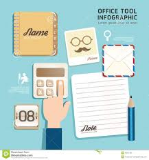 office design tool. Infographic Flat Design Icons Office Tool Concept Vector U