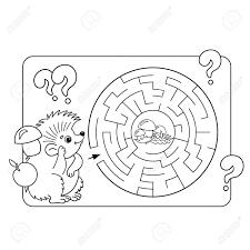 幼児の教育迷路や迷宮ゲームの漫画ベクトルの例パズルページ概要のハリネズミとキノコの着色子供のた