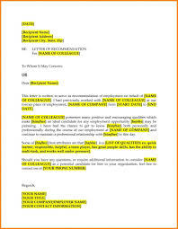Recommendation Letter For Colleague Advice Letter For Colleague Template Business Format