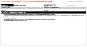 Contract Technician Job Description | Careers Job Descriptions ...