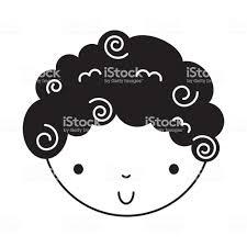 黒いアイコンかわいい男の子 イラストレーションのベクターアート素材