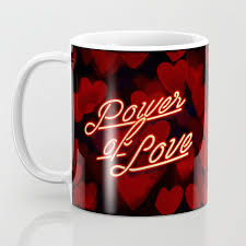 Inspirational Love Quotes Retro Neon Sign Valentines Red Black Hearts Bokeh Pattern Coffee Mug
