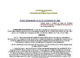 Decreto N 89 242 De 27 12 83 Cria A Apa De Cairucu Rio
