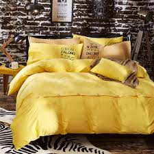 yellow pure cotton solid color comforter bedding sets botton plain bed linen duvet cover set twin queen king size in bedding sets from home garden on