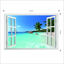 large d window exotic beach sea view uk wall sticker pictures in gallery wall sticker window