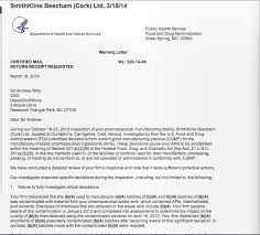 gsk 039 s andrew witty recieves fda warning letter about contaminated throughout fda