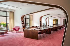 dropbox corporate office. Library In The New Offices Of Dropbox San Francisco, CA. Soft Pink Carpet Is Borrowed From European Opera Houses, And Long, Walnut Tables Corporate Office