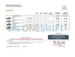 Toyota Singapore Printed Car Price List - Oneshift.com