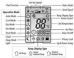 gree mini split ac remote control icons display screen