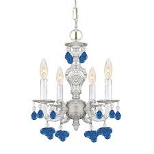 crystorama lighting group sutton wrought iron chandelier dd with blue murano crystal drops