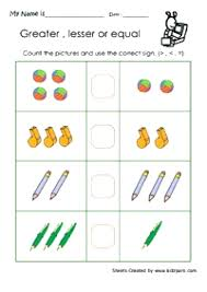 Free Kindergarten Math Worksheets Greater Than Less Worksheet More W