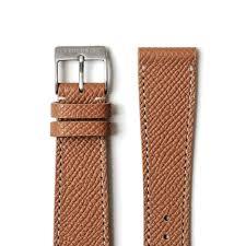 brown textured calfskin watch strap