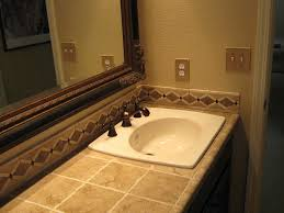 appealing tile bathroom. Bathroom. Cream Tile Counter Top With Oval White Sink Combined Large Mirror Having Brown Appealing Bathroom I