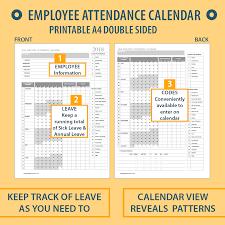 Absentee Calendar 2018 A4 Printable Employee Attendance Calendar Tracker For Hr