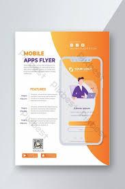 Design Flyer App Orange Mobile App Flyer Design Template Ai Template Psd