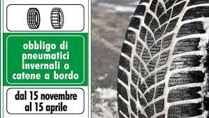 DAL 15/11/2019 AL 15/04/2020 OBBLIGO DI CATENE A BORDO O PNEUMATICI DA NEVE